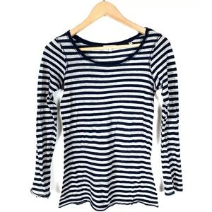 Vince Top Tee Long Sleeve Striped Blue Gray Medium